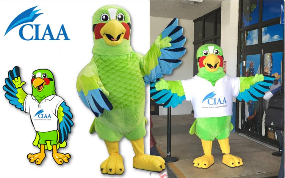 Custom Mascot Costume Parrot Bird Cayman Island Airport by Promo Bears