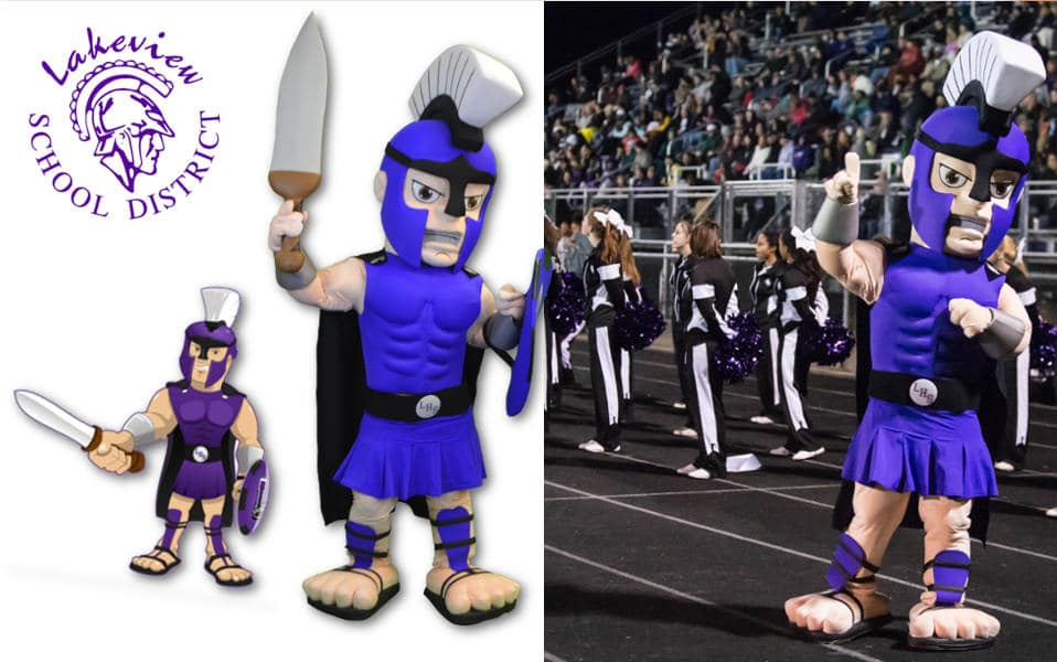 Custom Mascot Costume Spartan Lakeview School District by Promo Bears
