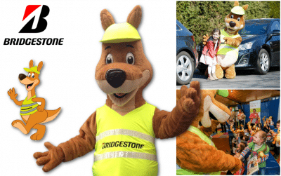 Custom Mascot Costume Lenny the Kangaroo from Bridgestone -Promo Bears-